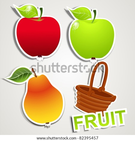 vector set stickers: fruits