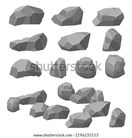 Vector set. Stones and rocks in isometric 3d. Vector collection of different stones, rocks. Cobblestones of various shapes.