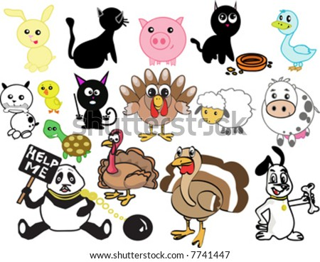 Vector Set - Stylized Domestic Animals - 7741447 : Shutterstock