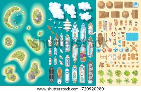 Vector set. Summer vacation. Tropical islands and ships. (top view) Time to travel - sun, sea, island, sand, yacht, airplane, people, furniture, palm trees, clouds. (view from above)