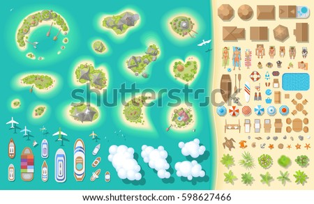 vector set summer vacation