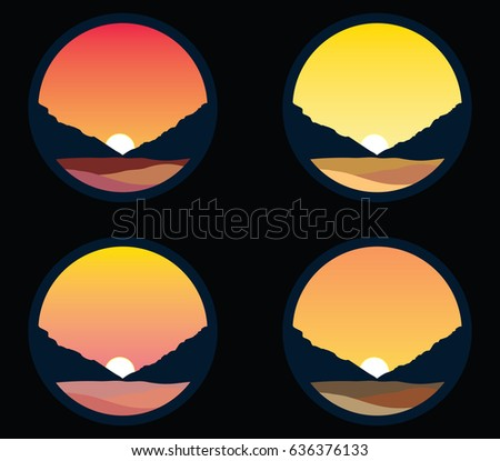 vector set sunset over