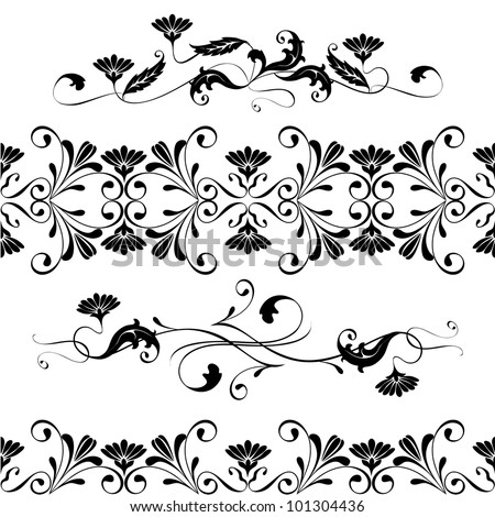 Vector set swirling decorative floral elements ornament. Wedding, lace
