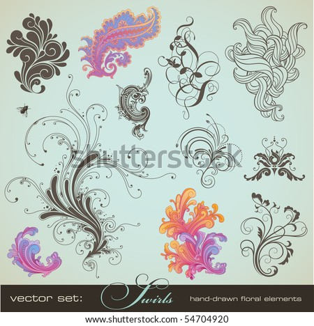 vector set swirls variety of handdrawn floral design
