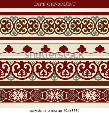 Vector set tape ornament old style