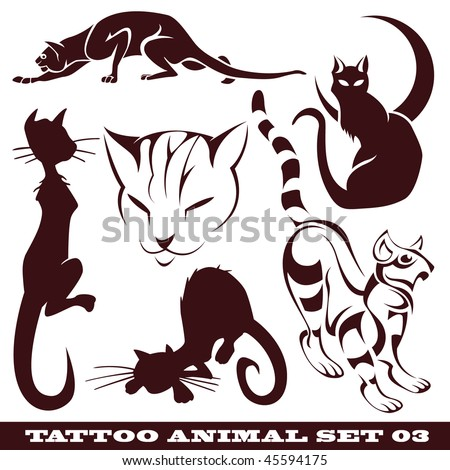 stock vector vector set templates animal for tattoo and design on