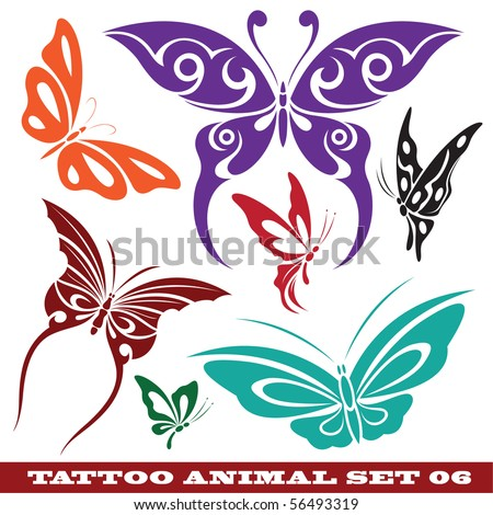 vector set templates butterfly for tattoo and design on different topics