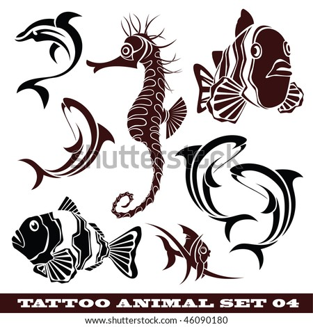 stock vector : vector set: templates Fish for tattoo and design on different