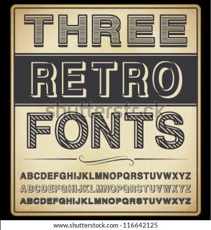vector set  three vintage fonts
