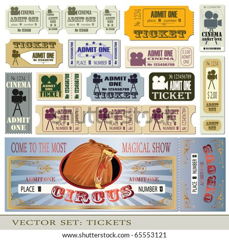 Vector set tickets admit one in different styles.