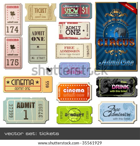 vector set tickets in different styles