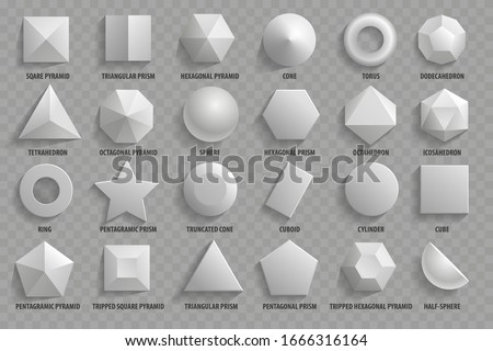 Vector set. Top view realistic math basic 3d shapes. Three dimensional geometric figures. Geometric shape figure form illustration. Photo stock ©