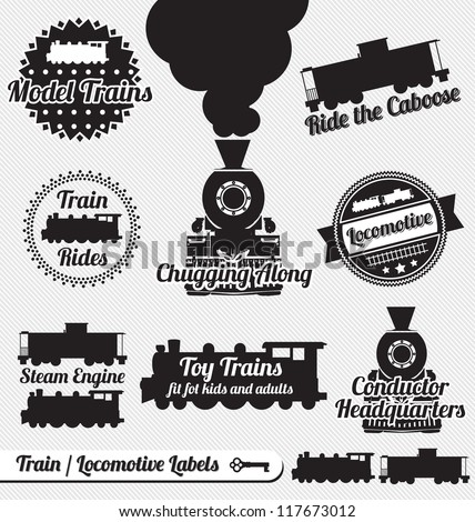 Shutterstock Vector Set: Train and Locomotive Labels and Icons