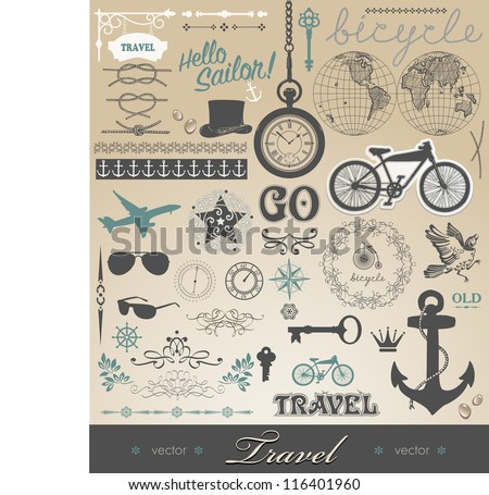 Vector set - travel calligraphic design elements and pictures and details