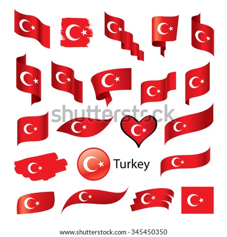 vector set turkish flag on a