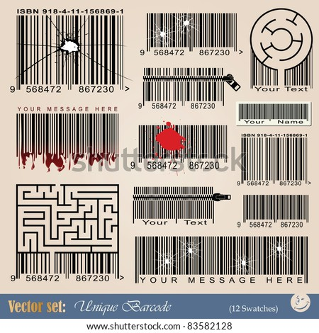 vector set: unique abstract barcodes for tattoo and design