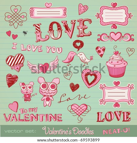 vector set  valentine's doodles