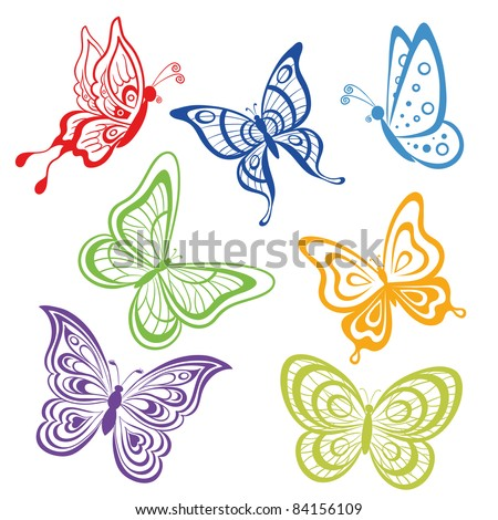 Vector, set various symbolical butterflies, coloured contours on a white background