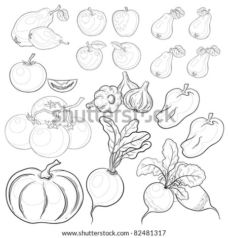 Vector, set: various vegetables and fruits, monochrome contours #82481317