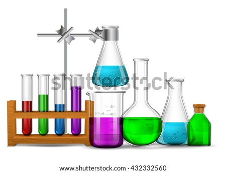 Vector set - Vector set - Chemical Research Laboratory. The test tube, beaker, flask