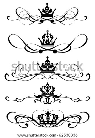 Vector set Victorian Scrolls and crown for your design Decorative Dividers Calligraphy