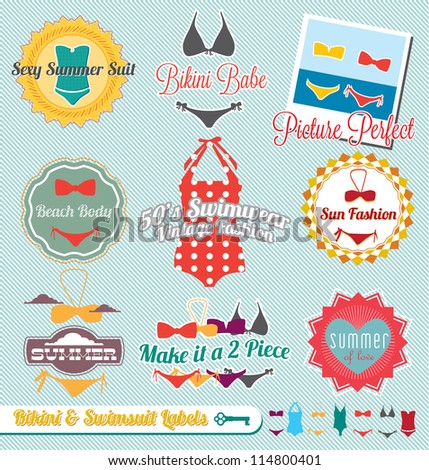 Vector Set: Vintage Bikini and Swimsuit Labels and Stickers