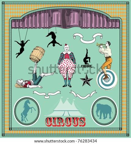 Vector set: vintage circus elements