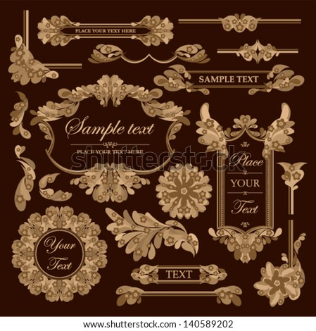 Vector SET - vintage frames with floral ornament