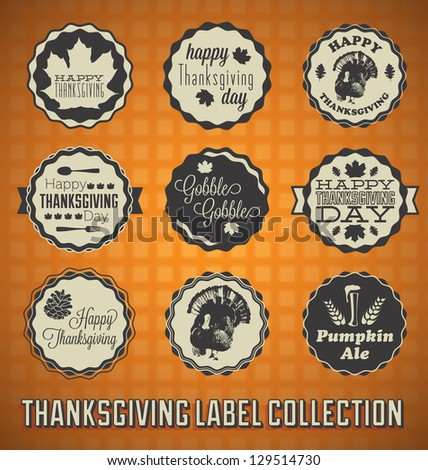 Vector Set: Vintage happy Thanksgiving Day Labels and Icons - stock vector