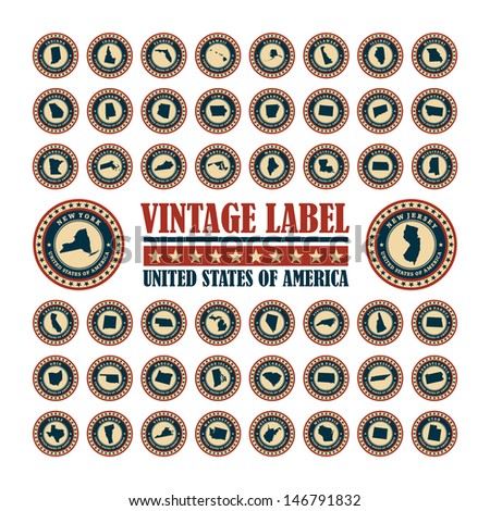 Vector set vintage label with map of states USA