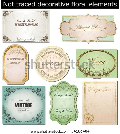 vector set: vintage labels - stock vector