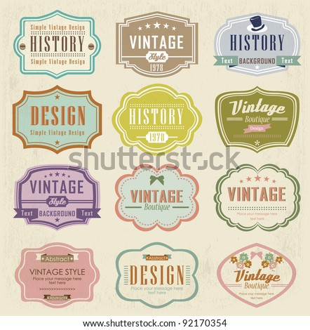 Vector set vintage labels - Shutterstock ID 92170354