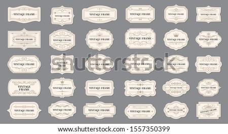 Vector set vintage labels and frame. Vector illustration EPS 10