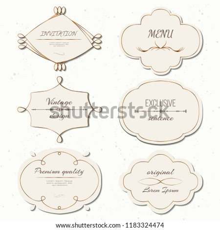 Vector set vintage labels and frames in retro style. Insignias or Logotypes set. Design elements for business signs or logos, labels, badges, tags or stamps.