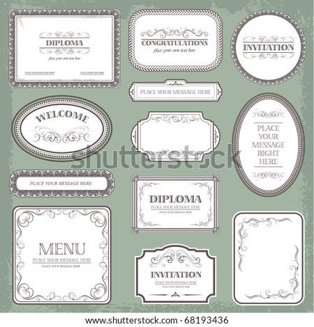 Vector set: vintage labels elements and page decoration