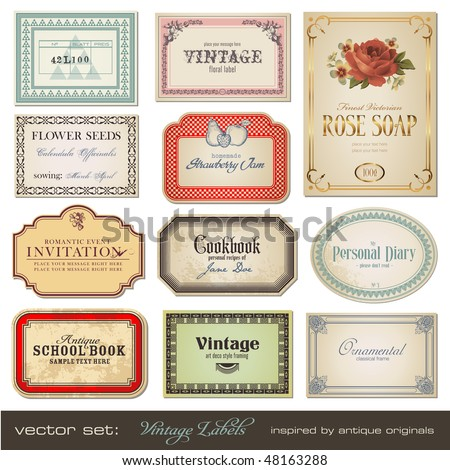 vector set: vintage labels - inspired by antique originals - stock vector