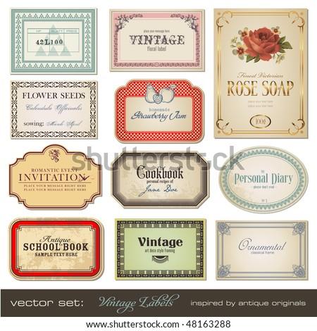 vector set: vintage labels - inspired by antique originals
