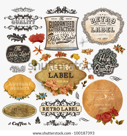 vector set: vintage labels with flowers, old paper texture, retro floral frames. For vintage and spring design - stock vector