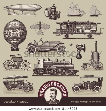 vector set: vintage means of transportation - variety of old-fashioned illustrations - stock vector