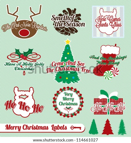 Vector Set: Vintage Merry Christmas Labels and Stickers