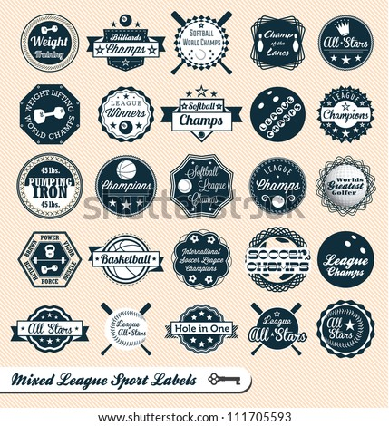Vector Set: Vintage Mixed League Sport Labels and Badges