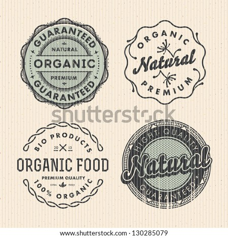 Vector set vintage organic labels