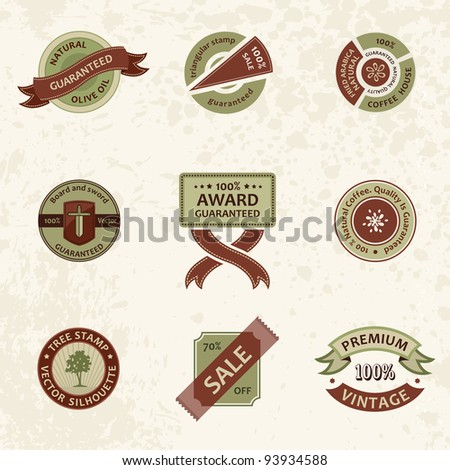 Vector set vintage ornate decor elements. ornaments ribbon stamps isolated - stock vector