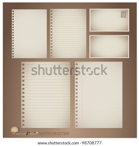Vector set: Vintage paper designs (paper sheets, lined paper and envelopes) - stock vector