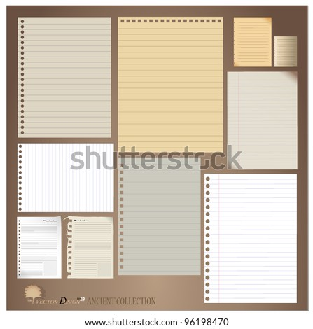 Vector set: Vintage paper designs (paper sheets, lined paper and note paper) stock photo