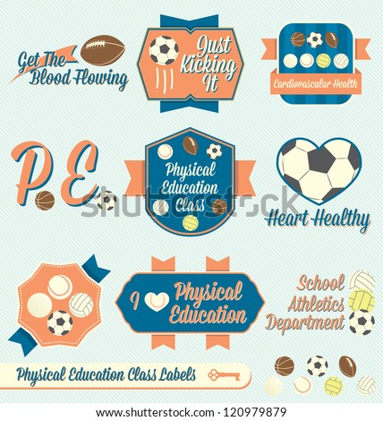Vector Set Vintage Physical Education Class Labels and Icons