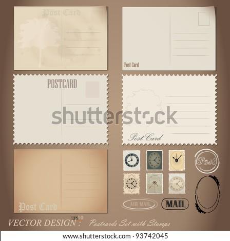 Vector set: Vintage postcard designs and postage stamps.