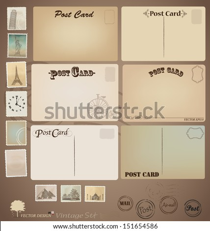 Vector set: Vintage postcard designs and stamps. - stock vector