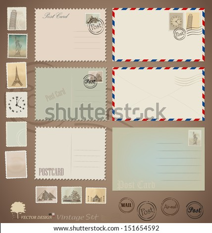 Vector set Vintage postcard designs envelopes and stamps