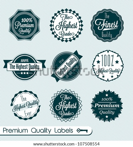 Vector Set: Vintage Premium Quality Labels